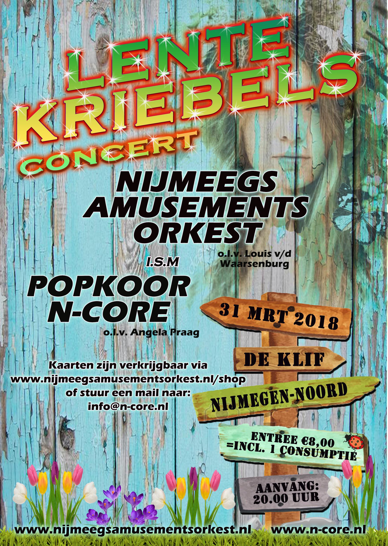 Flyer Lentekriebels concert op 31 maart NAO en N-Core